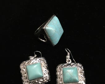 Treated Turquoise Earrings and Ring Set Nature Inspired design