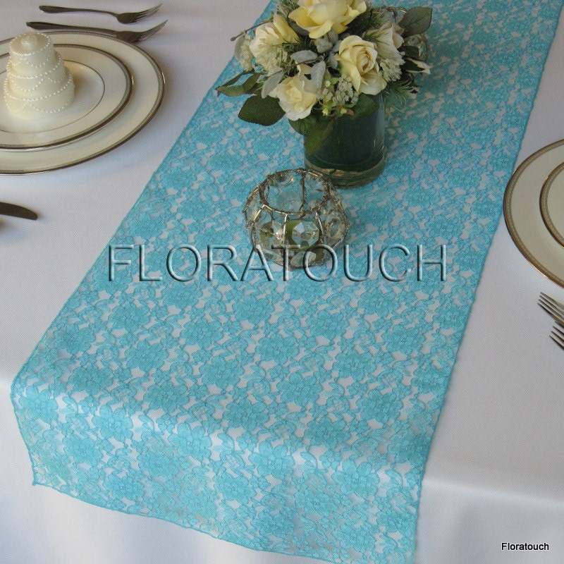 Pool Blue Light Turquoise Blue Lace Wedding Table Runner