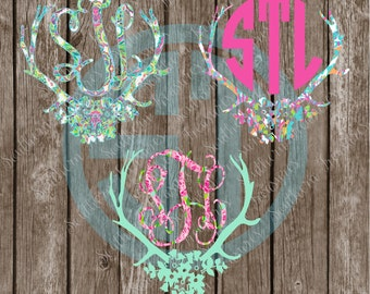 Lilly Pulitzer inspired Floral Deer Antler Monogram printed decal or heat transfer (iron on)