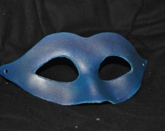 Silver blue leather masquerade mask