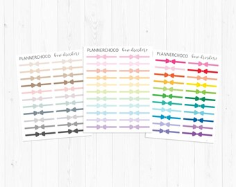 Bow divider stickers 2/planner sticker / planner stickers / ECLP /EC /multicolor basic functional/rainbow pastel neutral