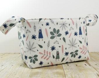 Fabric Storage Basket - Diaper Caddy - Nordavind Print  - Toy Storage