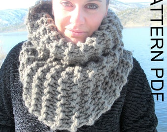 Cowl Scarf Pattern  Chunky   Cowl  Scarf  Knitting PATTERN PDF Beginner DIY  Cowl Chunky Scarf for  fall autumn winter accessories