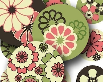 Modern Spring Flowers in 1.5-inch circles for buttons and more -- piddix digital collage sheet 612