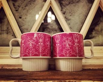 Vintage Pink Paisley Floral Stacking Mugs Japan