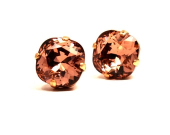 Blush Pink Crystal Stud Earrings Classic Sparkling Peach Pink Apricot Warm Copper Solitaire Swarovski 12mm 10mm Sterling Silver Post Puce