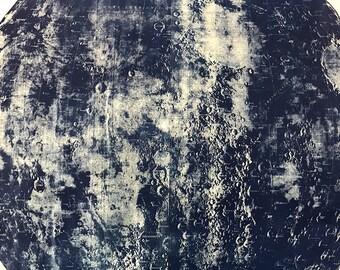 Huge Cyanotype / Blueprint Moon Map Mounted ready to hang