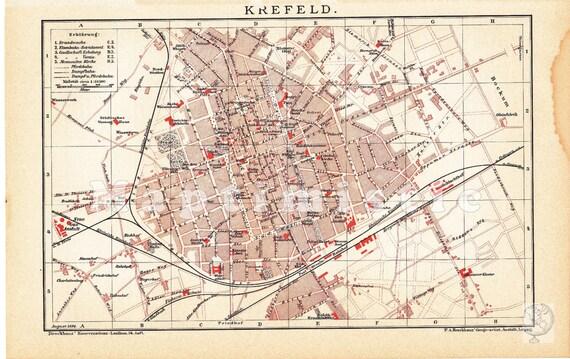 1896 City Map of Krefeld or Crefeld Rhenish Prussia at the