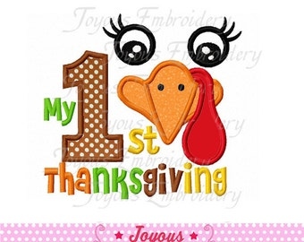 Instant Download My 1st Thanksgiving With Turkey Applique Embroidery Design NO:1596