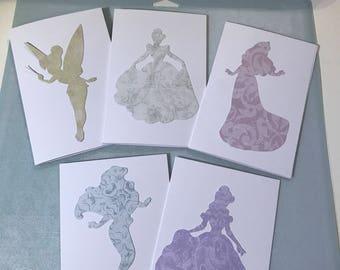 Disney Princess set of 5 notecards