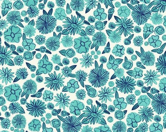 ON SALE - Alexia Abegg - Cotton & Steel - Hat Box - Blue Floral - Cotton Lawn - Half Yard Fabric