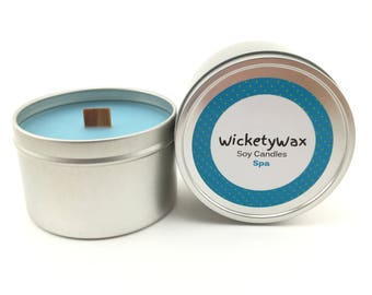 Spa Soy Candle with Wooden Wick, Wood wick- 8 oz candle tin, Hand Poured Soy Candle, Handmade Highly Scented Soy Candle