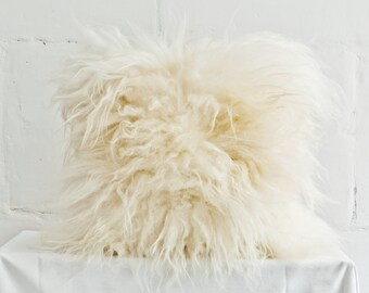 "Genuine Icelandic Sheepskin Decorative White Cushion / 16"" x 16"" Pillow / Throw Pillowcase White / Shaggy Sheepskin / Luxury Fur Decor."