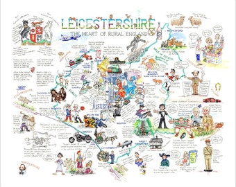 Leics is More. Leicestershire history cartoon map