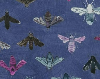 Dreamer by Carrie Bloomston for Windham Fabrics - Full or Half Yard Modern Bees on Blue