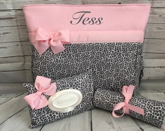 GRAY Cheetah ... LEOPARD  Print.... Diaper  Bag SET .. Bottle Pockets  .. Wipe Cover ... Changing Pad ... Personalized Free