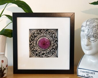 Framed Geometric Papercut with Real Dried Flower - Hand Cut, 23x23cm