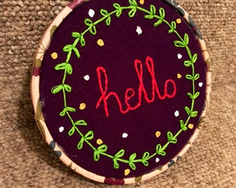 Hello Embroidered Floral Hoop