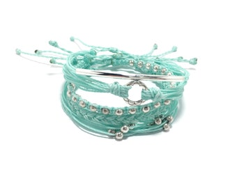Creme Mint Blue Bracelet Stack, Set of Five Adjustable Waterproof Multi-Strand, with Metal Beads,