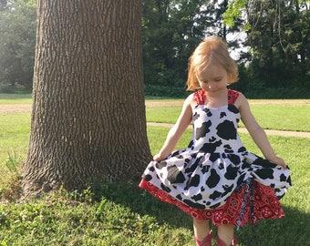 Cow toddler dress
