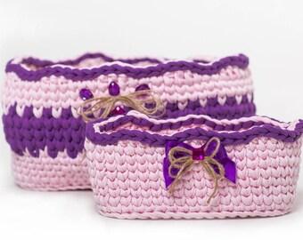 violet, pink, basket, set of baskets