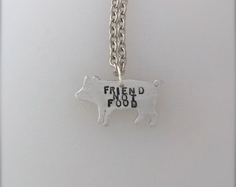 New-Mini Friend not Food Pig necklace-Vegan Necklace-Vegan Jewelry-Vegan gift-Pig Jewelry-Rescue Pig-Eco Friendly