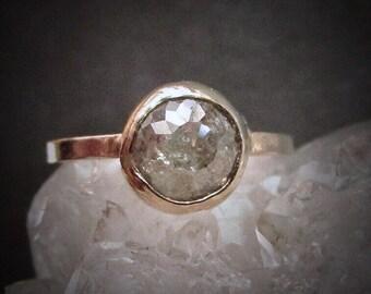 Raw Diamond Engagement Ring, Unique Diamond Ring, 14k Gold Bezel setting, Conflict Free, Rustic Diamond