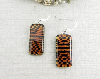 Black and Copper Fused Dichroic Hanging Earrings - Geometric Patterned Dangle and Drop Glass Earrings with Sterling Silver Ear Wire