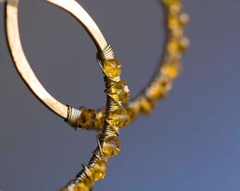 Citrine Earrings, Gold Hoops, Citrine Hoops, Raw Gemstone, Mothers Day gift - Bohemian Wedding, Fall Wedding - Raindrops