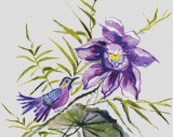 Oriental Flower and Bird cross stitch chart