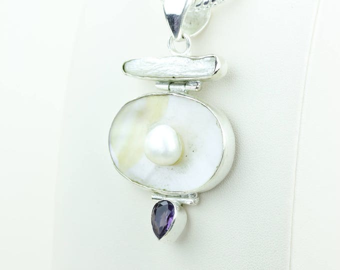Pearl Amethyst 925 S0LID Sterling Silver Pendant + 4MM Snake Chain & Worldwide Shipping p4023