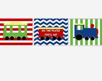Train Baby Boy Nursery Art Oh The Place You'll Go Blue Red Yellow Green Choo Choo Boy Room Wall Art Toddler Boy Decor Baby Nursery Decor Art