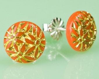Vintage 1940's Orange Glass with Gold Inlay Button Post Earrings