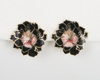 1970's Pink Guilloche Metallic & Solid Black Enamel Cloisonné Gorgeous Black Dalia Clip-On Earrings, Near MINT Condition.