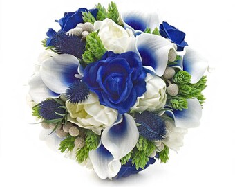 Stemple's Gatherings- Royal Blue Picasso Callas, Royal Blue and Ivory Roses,Peonies,Brunia,Hops & Navy Thistle-In a vase or a bouquet