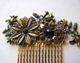 Flower hair comb | gold headpiece | bridal | floral | bridal | nature inspired