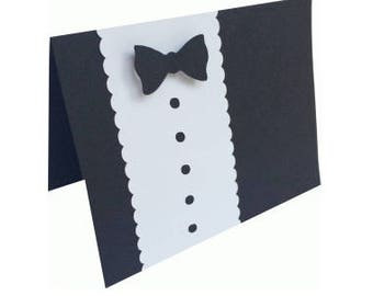 Tuxedo Card , Blank inside , Event , Wedding , Graduation , Dance , Dinner , Party , Formal , Bow tie , Black , White