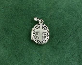 Sterling Silver Christian Cross Locket - Pendant - Free Shipping Free Shipping!