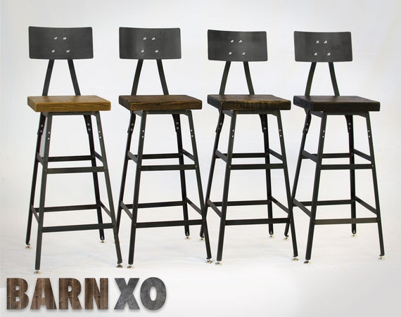 Set Of 4 Reclaimed Wood Urban Industrial Bar Stools With Steel