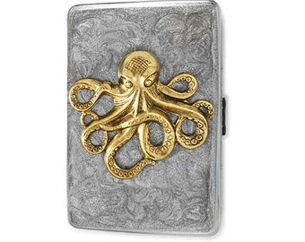 Octopus Metal Cigarette Case Inlaid in Hand Painted Silver Swirl Enamel Antique Gold Silver Kraken Metal Wallet with Personalized Options