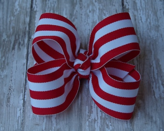 """Red and White Stripe Large Hair Bow 4"""" Alligator Clip Girls Hairbow Candy Cane Christmas Hair Bow Red Stripe Hair Bow Christmas Large Bow"""