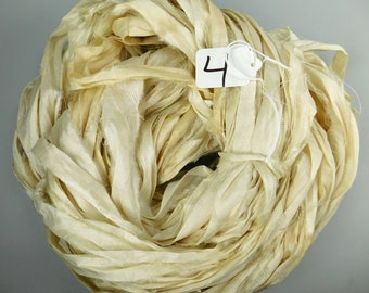 Sari silk Ribbon, Recycled Silk Sari Ribbon, Cream sari ribbon, off white sari ribbon, weaving supply, knitting supply, spinning supply