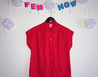 Vintage 1970s Shirt, ILGWU – Red Satin Button Up Short Sleeve