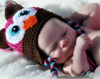 Newborn Owl Hat, Owl Hat, Girl Owl Hat, Crochet Owl Hat, Baby Girl Owl Hat