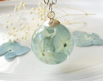 Resin Jewelry Real Flower Necklace Resin Necklace Botanical Jewelry Teal Necklace Real Flower Jewelry