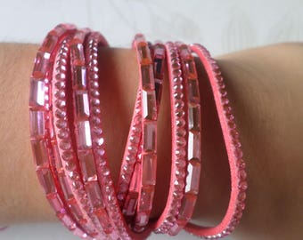x 1 40 cm silver rose clasp Rhinestone Snap pink multi strand leather bracelet