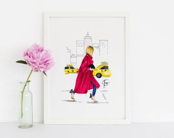 City Stroll (Fashion Illustration Print) (Fashion Illustration Art - Fashion Sketch prints - Home Decor - Wall Decor )
