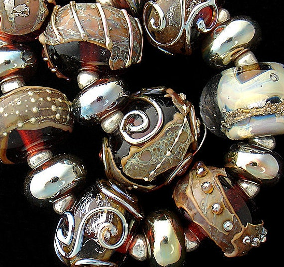 Lampwork Beads Glass Bead Supplies Beading Jewelry Necklace Beads Bracelet Beads Round Beads Jewelry Making Craft Supply Debbie Sanders