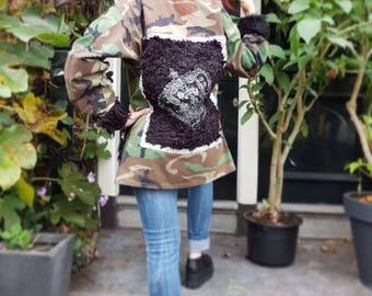 Furry customized vintage US army jacket