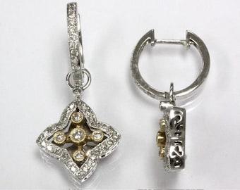 0.66 ct tw Natural Diamond (H-I, SI2) Gold Star Dangle Earrings